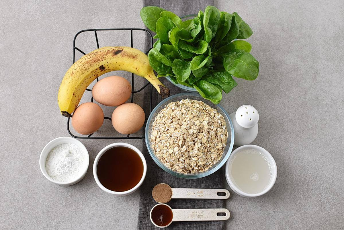 Ingridiens for Green Oatmeal Spinach Waffles