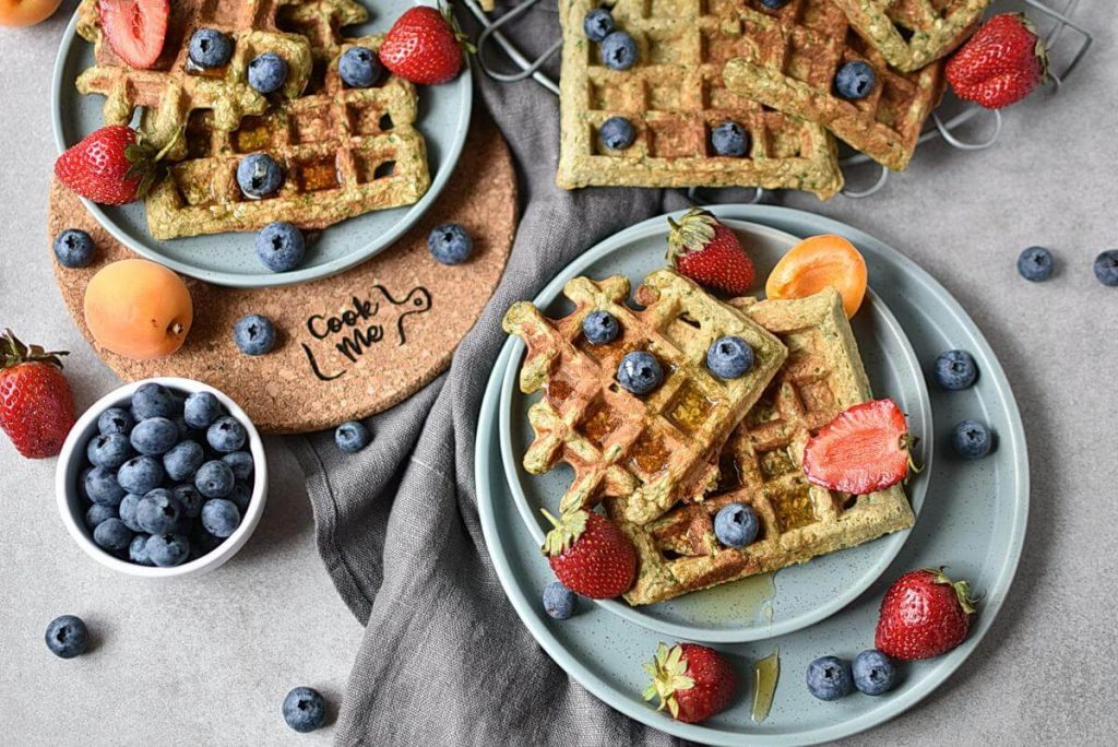 How to serve Green Oatmeal Spinach Waffles