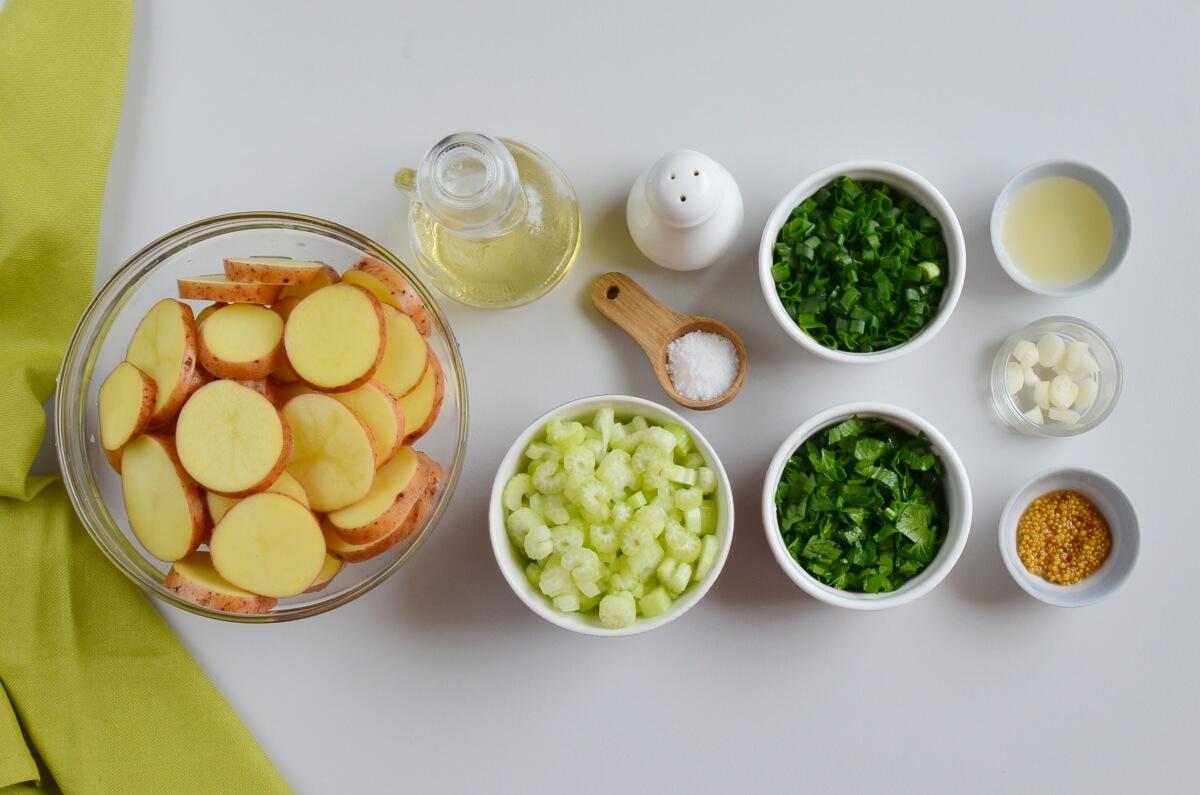 Ingridiens for Vegan Herbed Potato Salad (no mayo!)