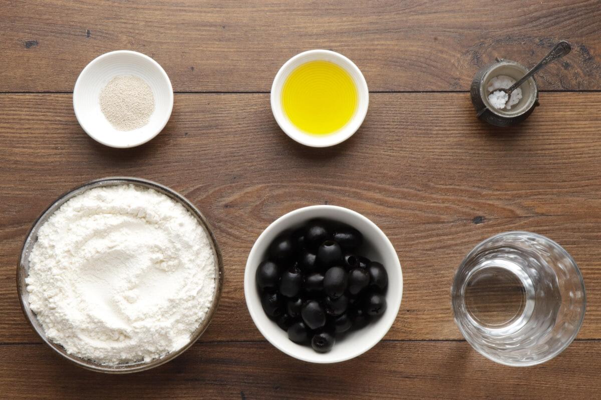 Ingridiens for Homemade Black Olive Bread