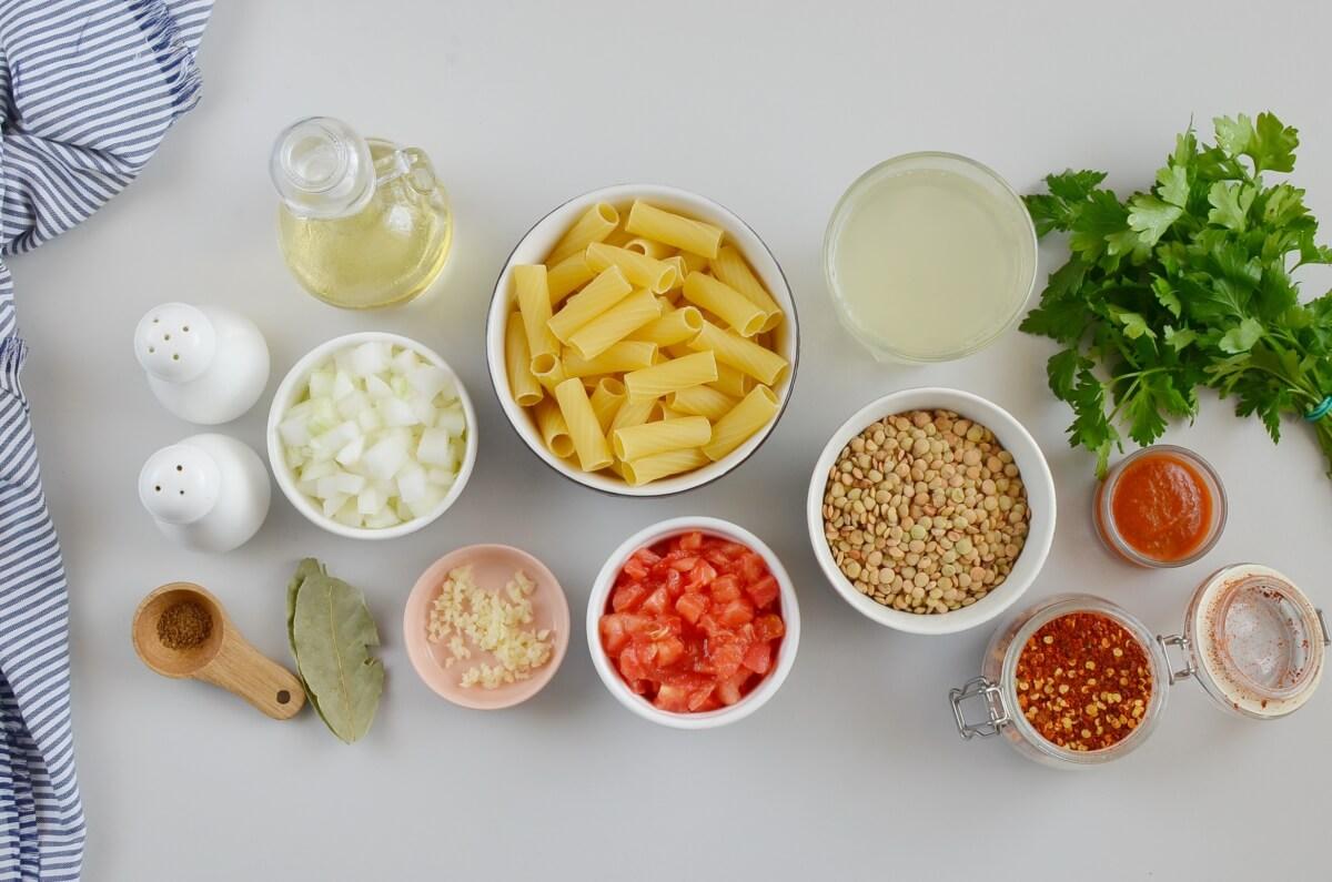 Ingridiens for Italian Pasta with Lentils