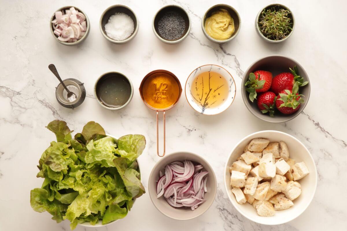 Ingridiens for Keto Strawberry Chicken Poppyseed Salad