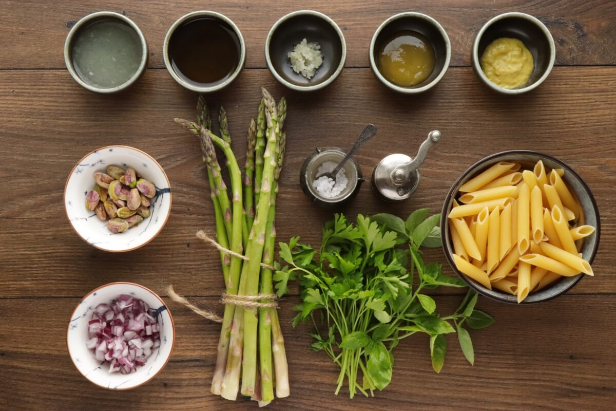 Ingridiens for Lemon Asparagus Pasta Salad