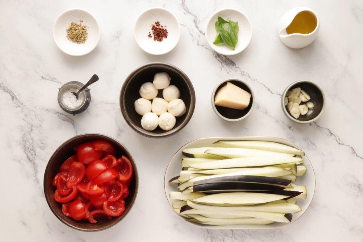 Ingridiens for One-Pot Italian Eggplant Noodle Parmesan