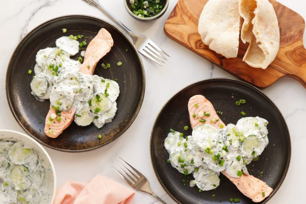 How to serve Poached Salmon with Cucumber Yogurt Salad