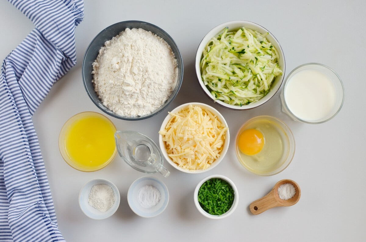 Ingridiens for Savory Zucchini Cheddar Quick Bread