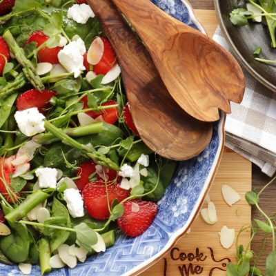 Strawberry Spinach and Asparagus Salad Recipe-Spinach, Asparagus, and Strawberry Salad-Summer-Time Asparagus & Strawberry Spinach Salad