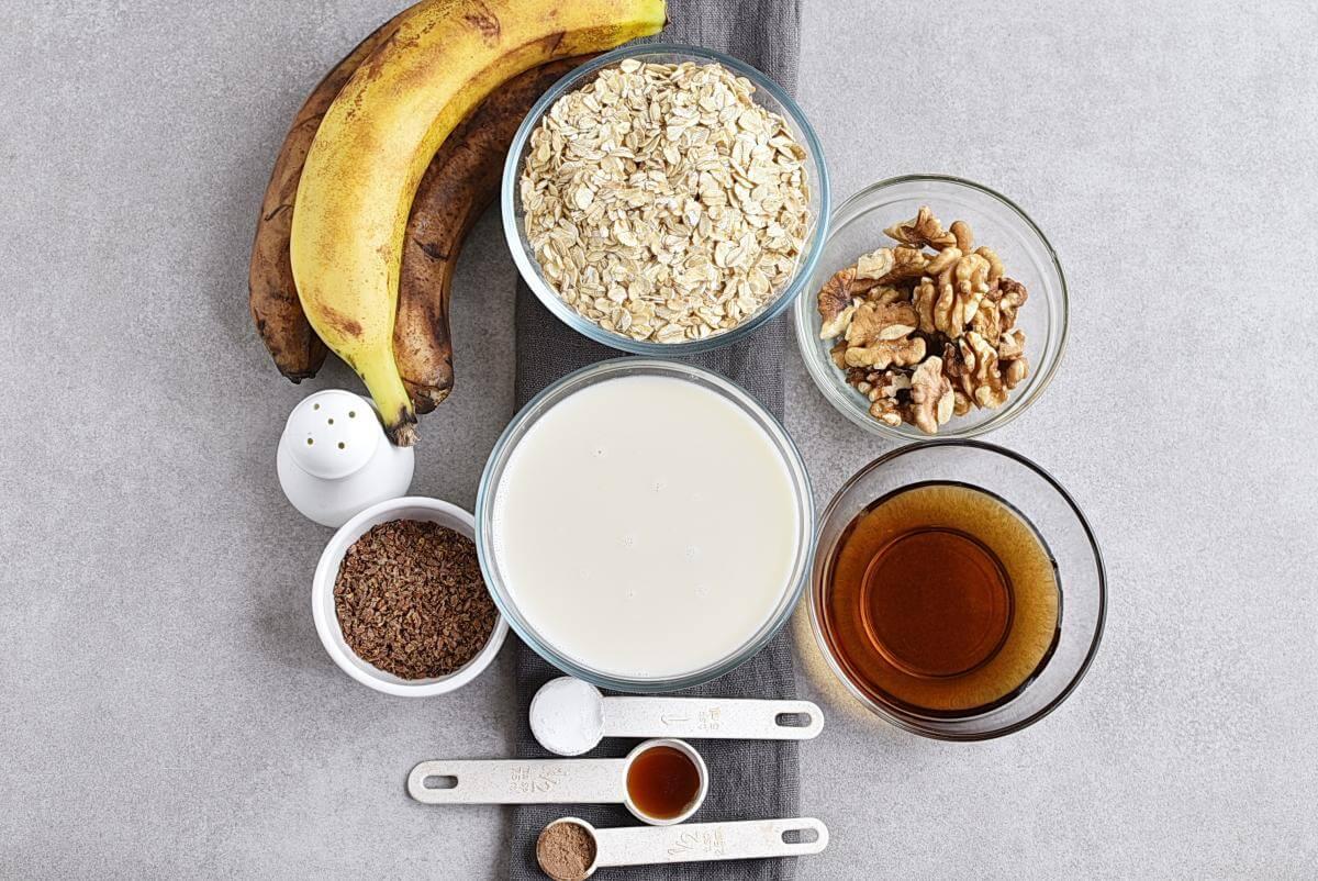 Ingridiens for Vegan Banana Bread Baked Oatmeal