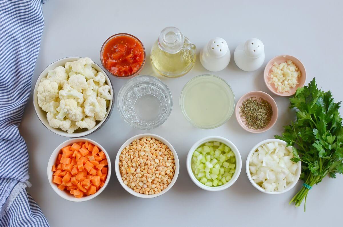 Ingridiens for Vegan Italian Split Pea Cauliflower Stew