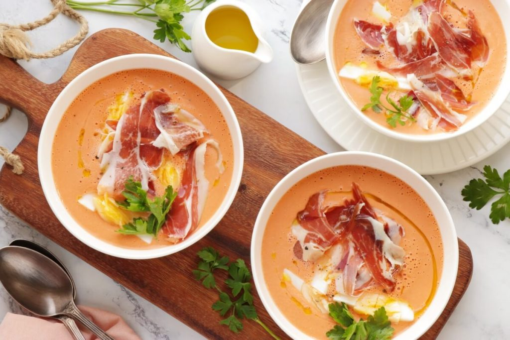 How to serve Almond Salmorejo Soup
