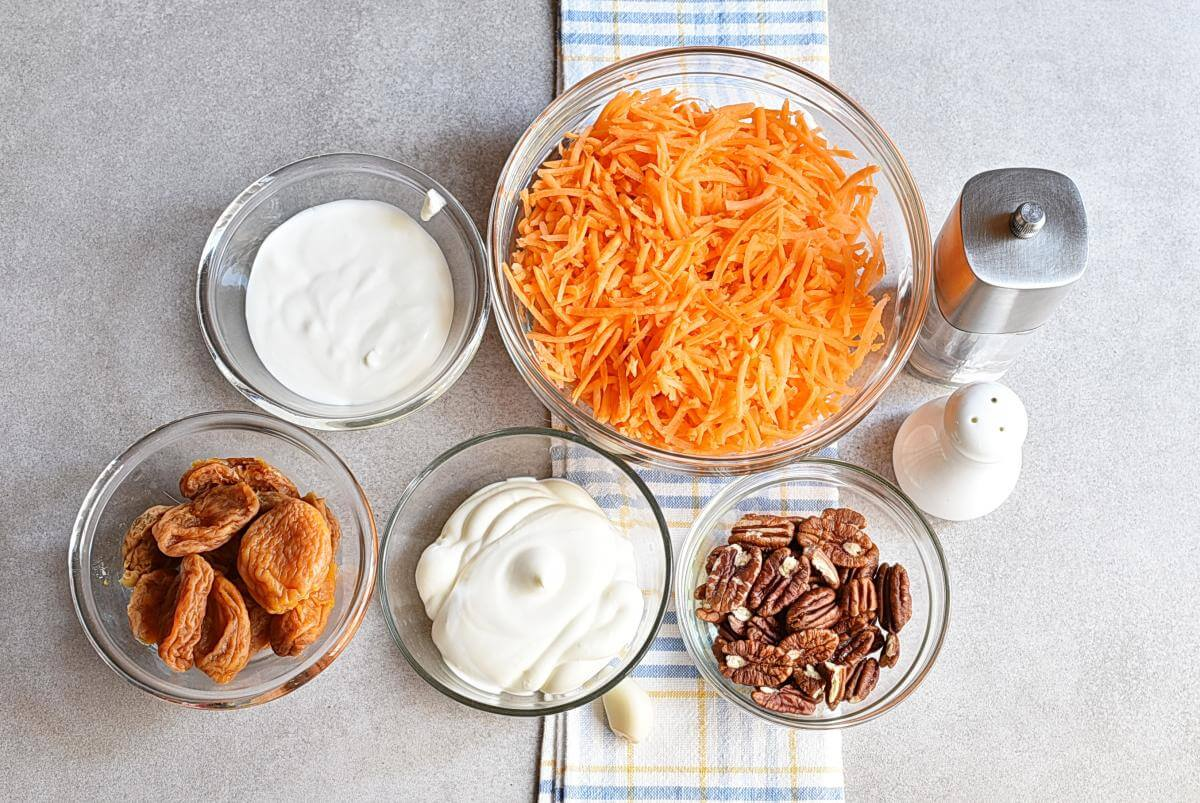 Ingridiens for Carrot Salad with Apricots and Pecans