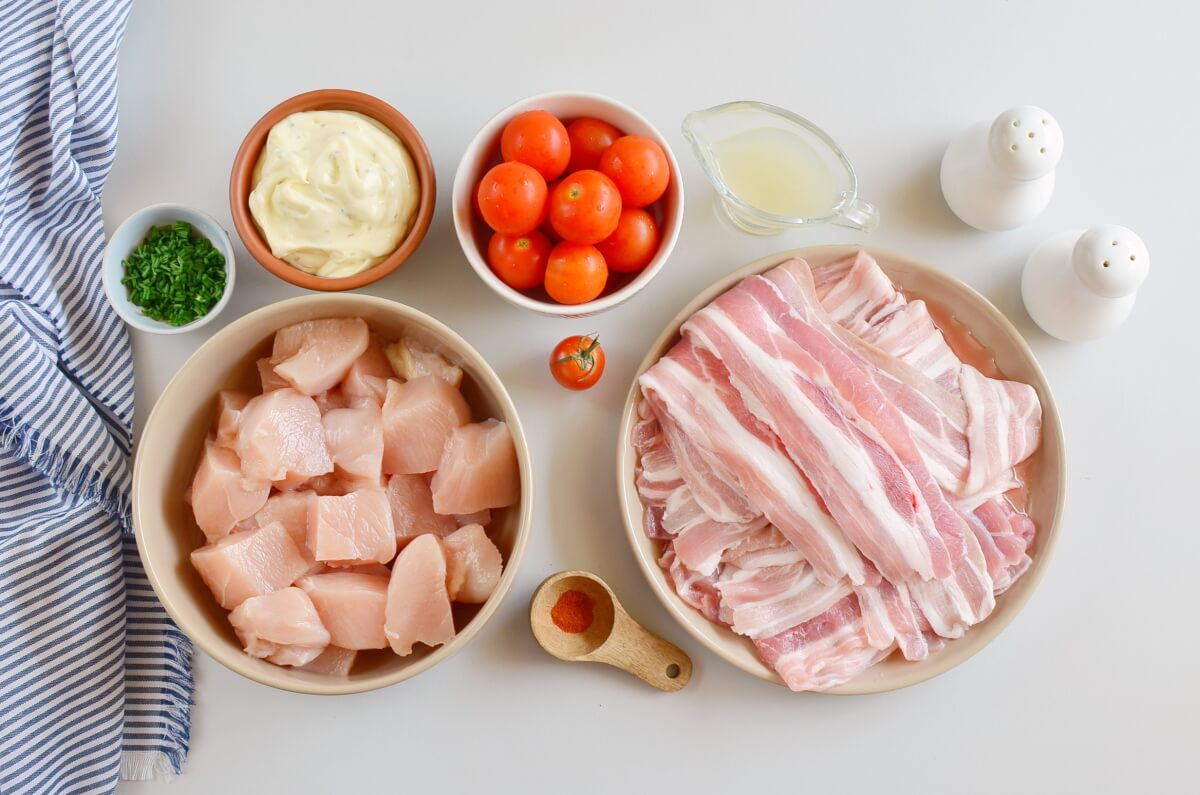 Ingridiens for Chicken, Bacon, Ranch Skewers