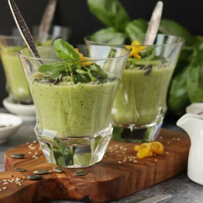 Chilled Zucchini Basil Soup Recipe-Basil Zucchini Soup-Quick & Healthy Zucchini Basil Soup