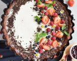 Chocolate Triple Berry Panna Cotta Tart