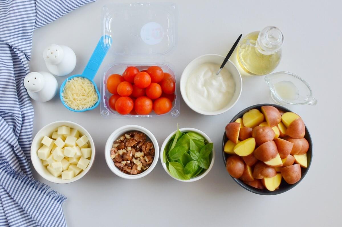 Ingridiens for Creamy Pesto Caprese Potato Salad