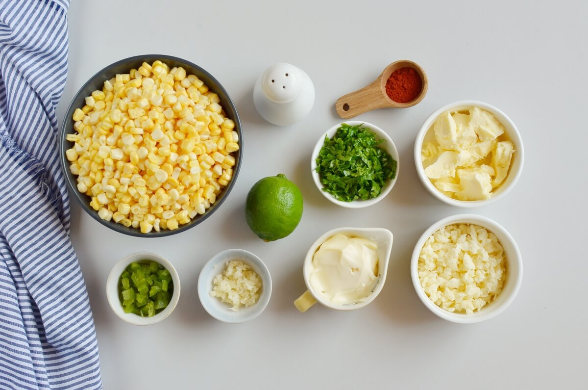 Ingridiens for Esquites (Mexican Street Corn Cups)
