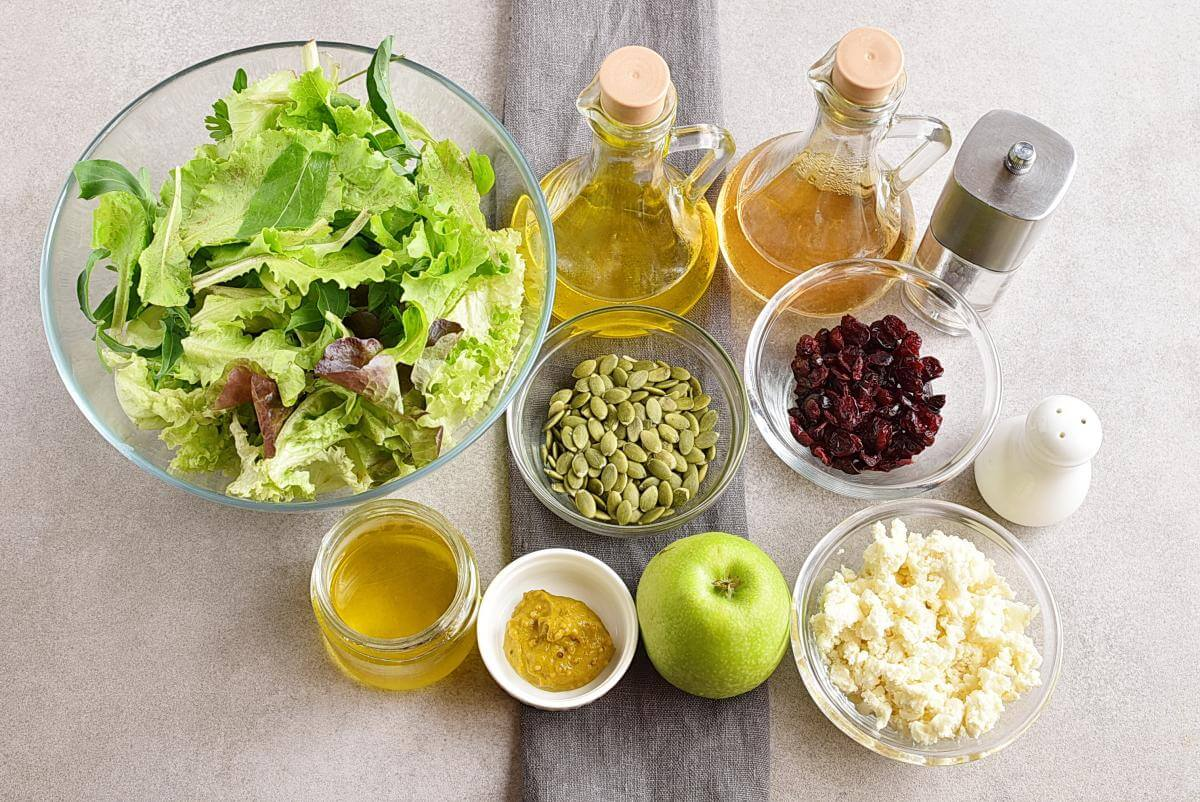Ingridiens for Green Salad with Apples, Cranberries and Pepitas