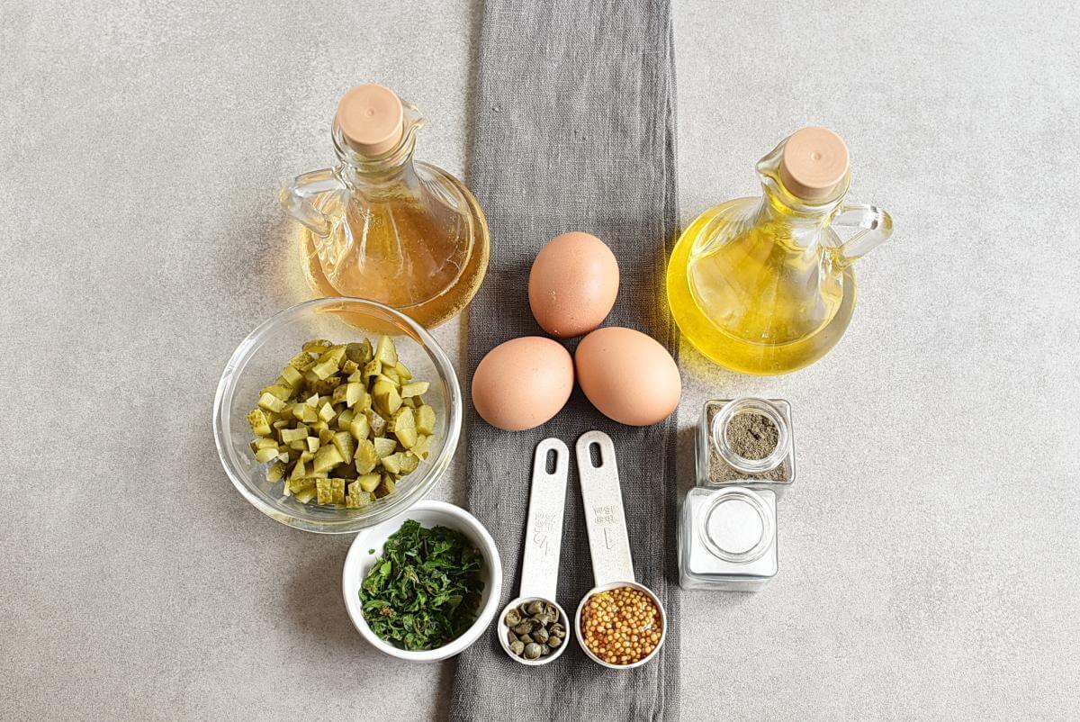 Ingridiens for Gribiche (Hard-Boiled Egg) Dressing