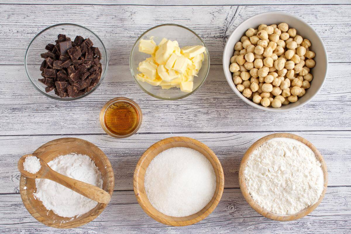 Ingridiens for Italian Nut Cookies (Baci di Dama)