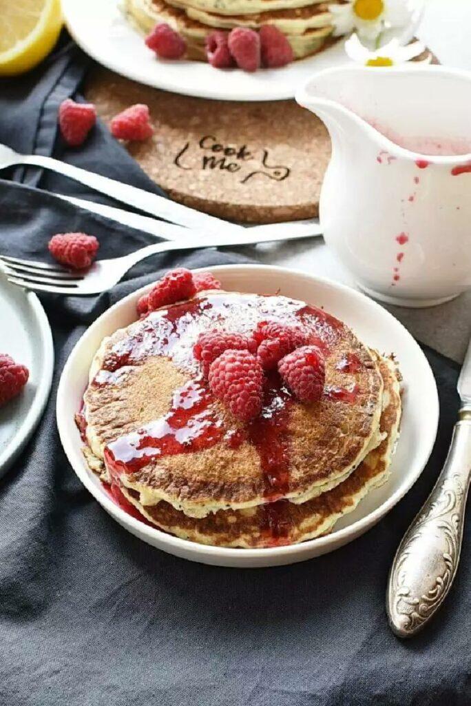 Lemon Pancakes with Raspberry Syrup