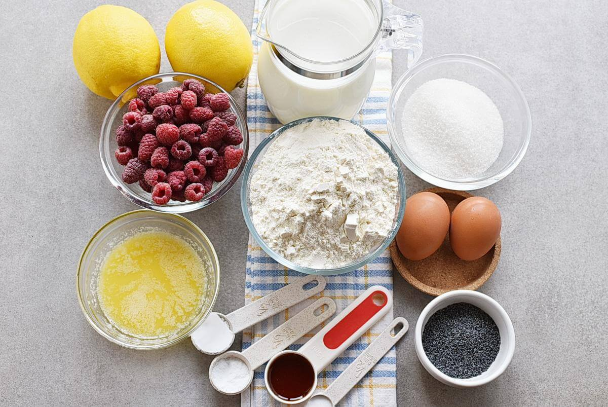 Ingridiens for Lemon Pancakes with Raspberry Syrup