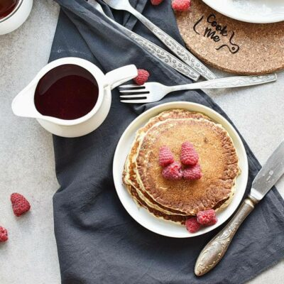 How to serve Lemon Pancakes with Raspberry Syrup
