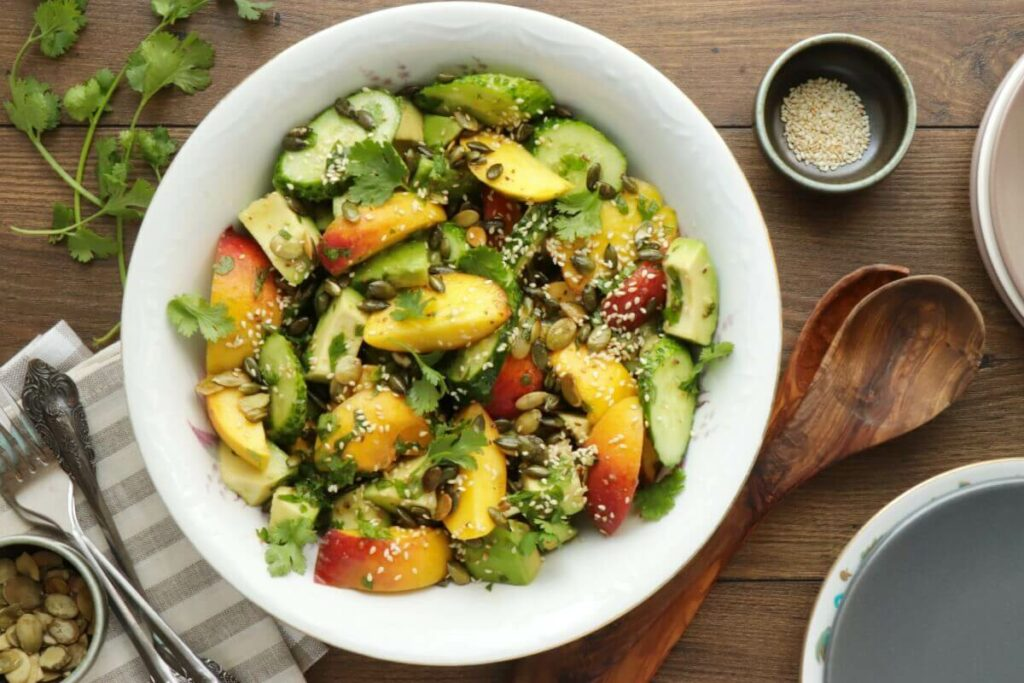How to serve Peach and Cucumber Salad