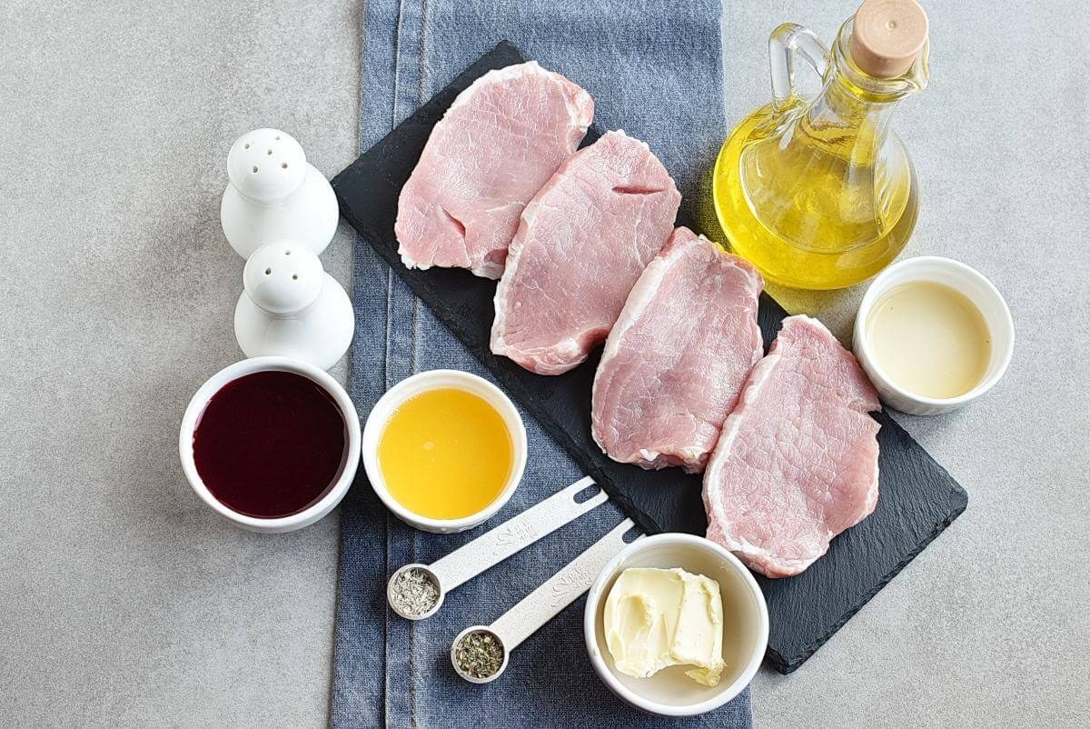 Ingridiens for Pork Chops with Raspberry Sauce