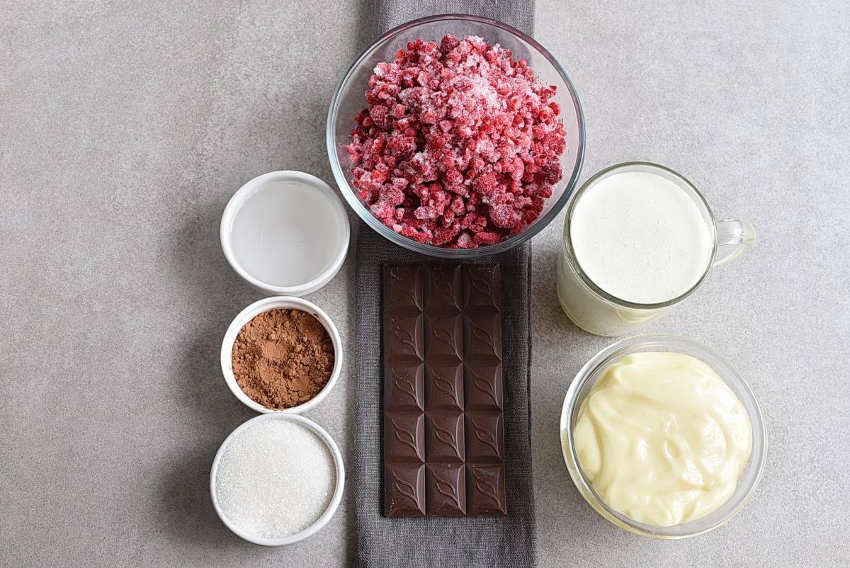 Ingridiens for Raspberry Chocolate No Churn Ice Cream