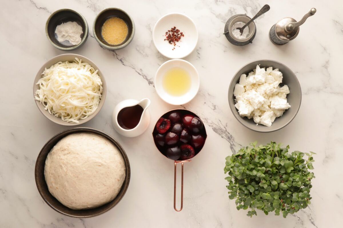 Ingridiens for Summer Pizza with Cherries and Feta