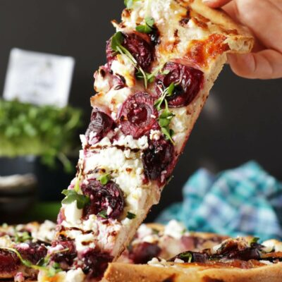 Summer Pizza with Cherries and Feta Recipe-Summer Pizza Ideas-White Pizza