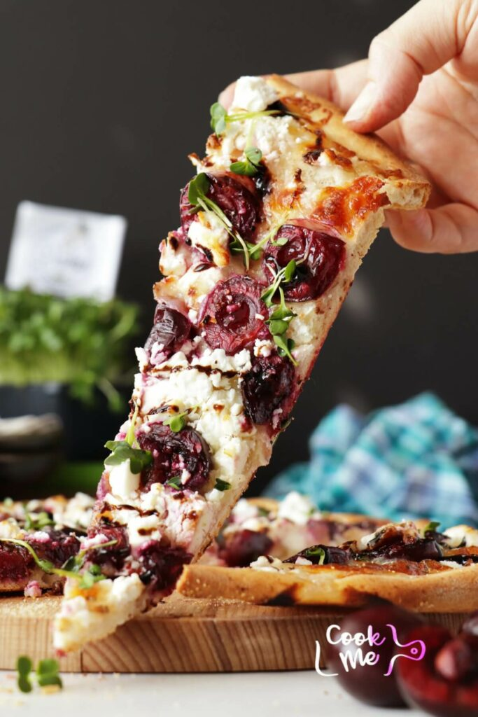 Summer Pizza with Cherries and Feta