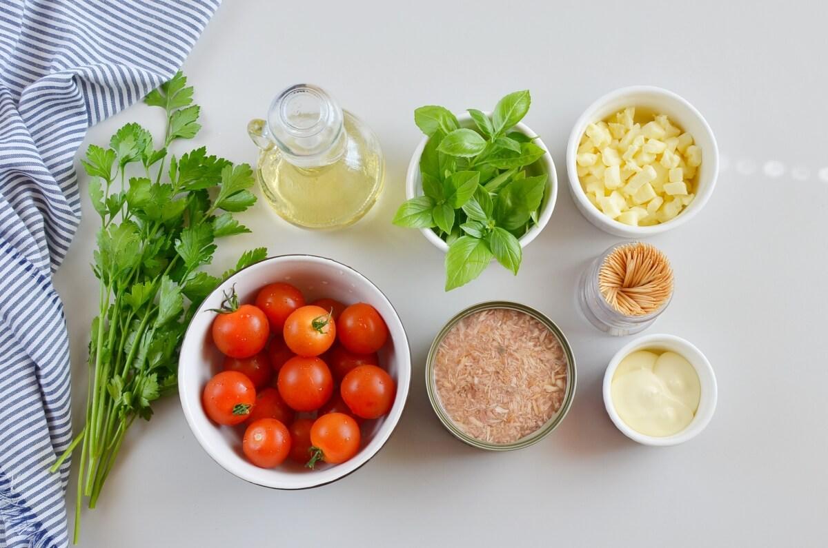 Ingridiens for Tuna Mozzarella Stuffed Cherry Tomatoes