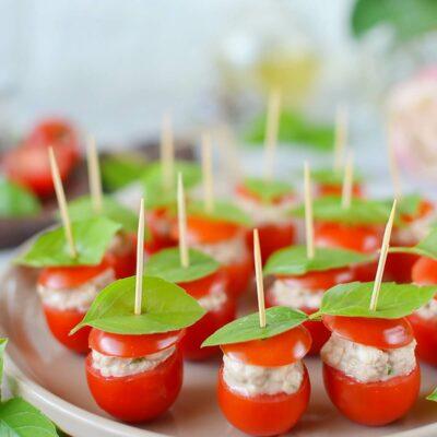 Tuna Mozzarella Stuffed Cherry Tomatoes Recipe-How To Make Tuna Mozzarella Stuffed Cherry Tomatoes-Delicious Tuna Mozzarella Stuffed Cherry Tomatoes