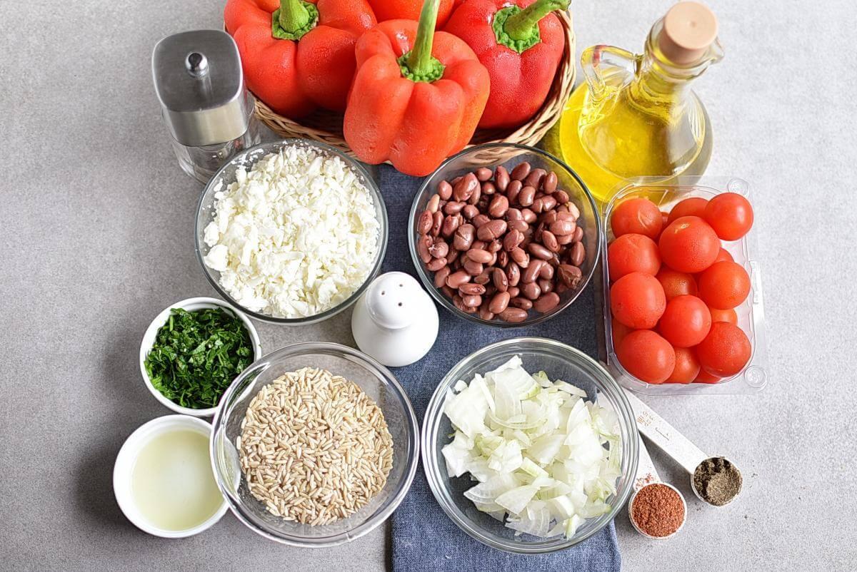 Ingridiens for Vegetarian Stuffed Peppers
