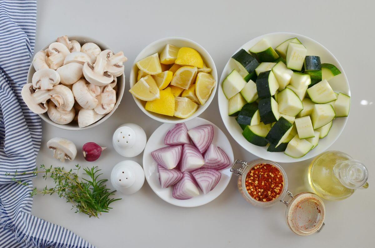 Ingridiens for Veggie Kebabs