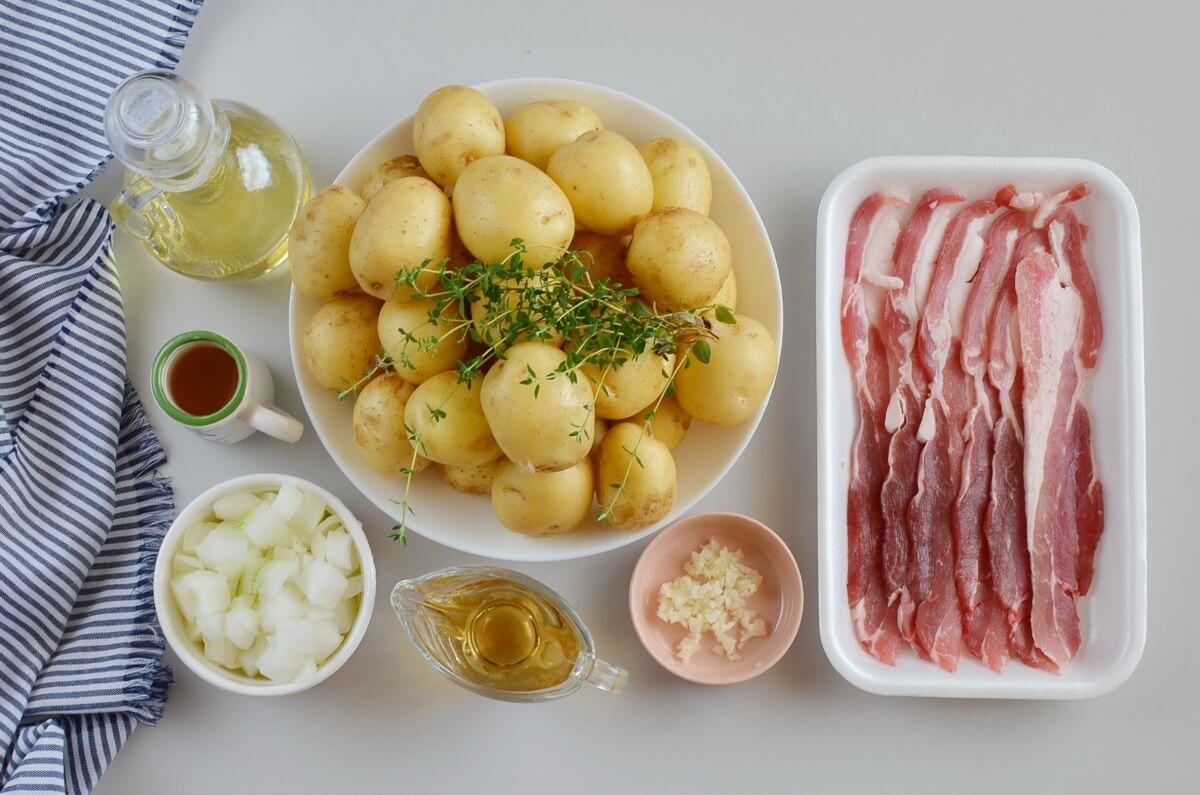 Ingridiens for Warm Maple Bacon Potato Salad