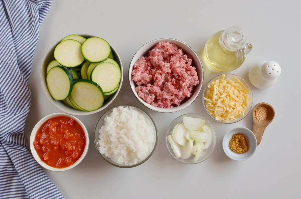 Ingridiens for Zucchini & Sausage Stovetop Casserole
