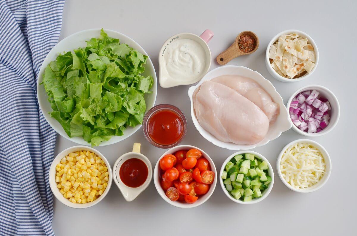 Ingridiens for BBQ Chicken Salad