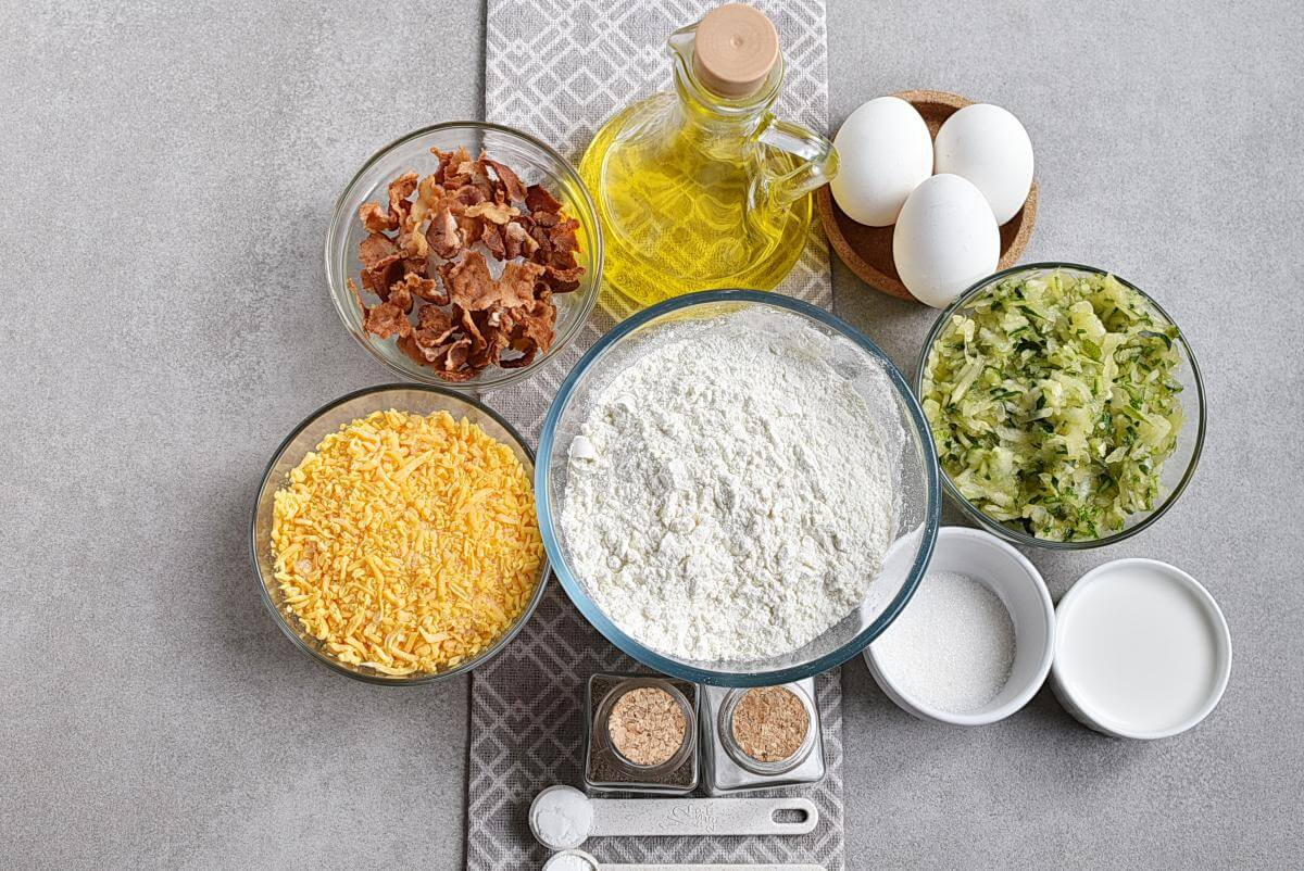 Ingridiens for Bacon and Cheddar Zucchini Bread