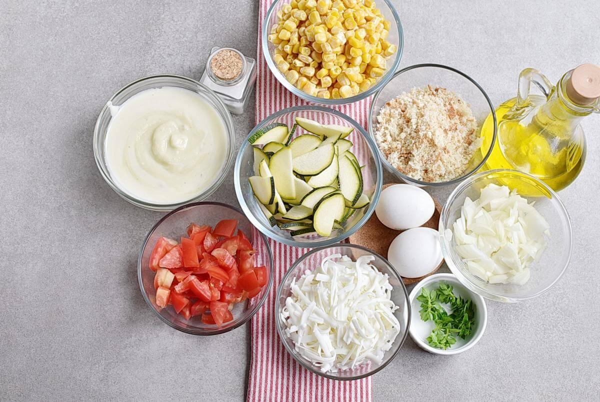 Ingridiens for Basil Corn & Tomato Bake