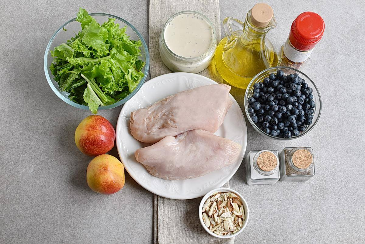Ingridiens for Chicken and Nectarine Poppy Seed Salad