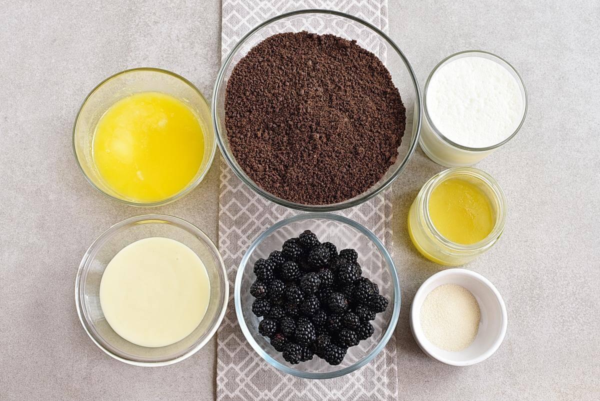 Ingridiens for Easy No Bake Blackberry Tart