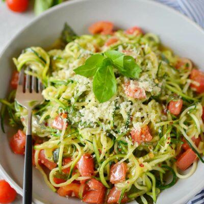 Guilt-Free Garlic Parmesan Zucchini Noodles Recipe-How To Make Guilt-Free Garlic Parmesan Zucchini Noodles-Delicious Guilt-Free Garlic Parmesan Zucchini Noodles