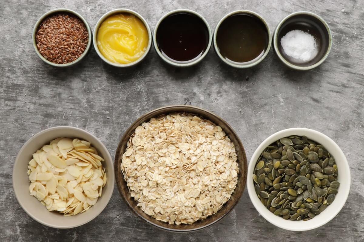 Ingridiens for Pumpkin Seed Flax Granola