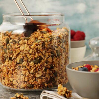 Pumpkin Seed Flax Granola-Healthy Granola Recipe-Homemade Granola Recipe-Granola with Honey-Basic Granola