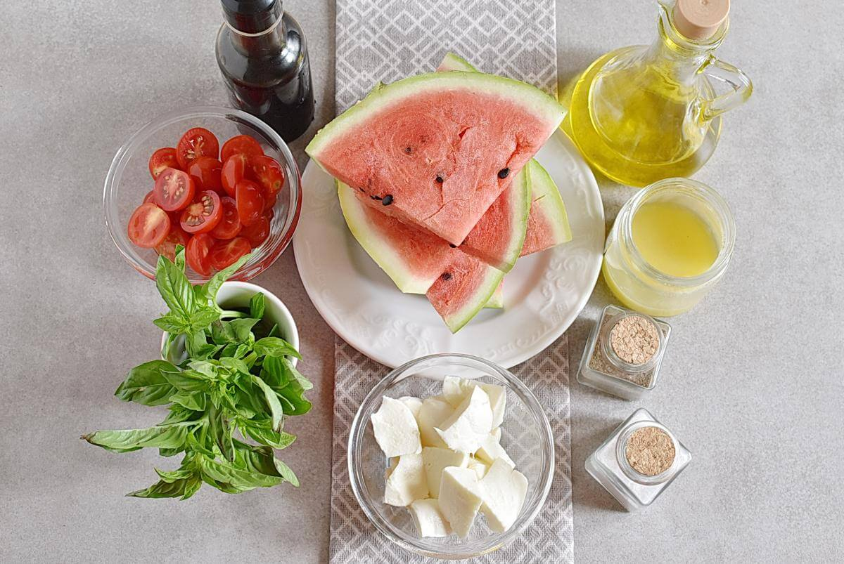 Ingridiens for Honey Grilled Watermelon Caprese Salad