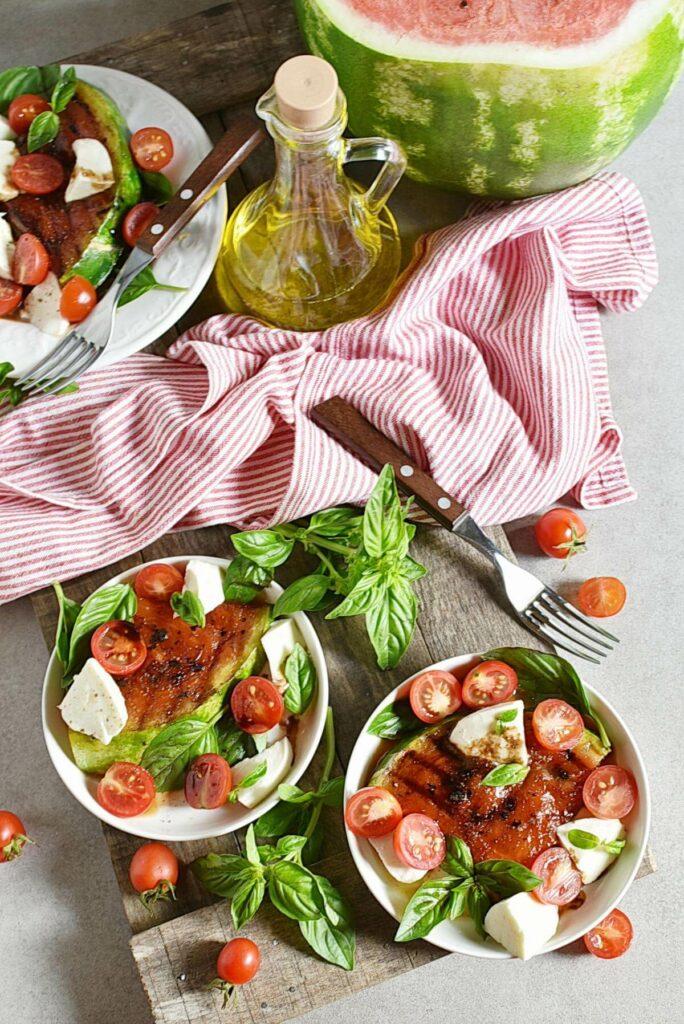 Honey Grilled Watermelon Caprese Salad