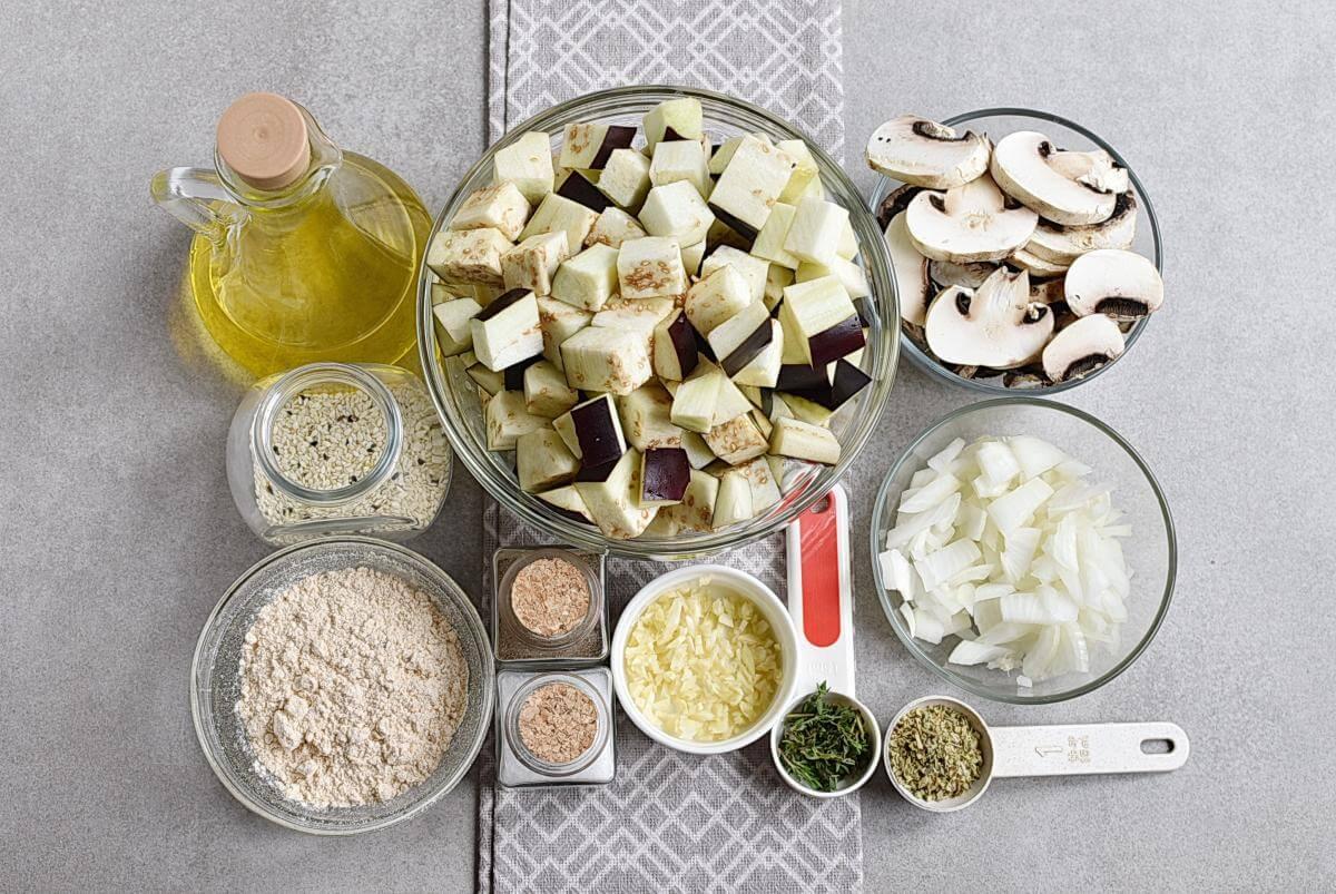 Ingridiens for Keto Eggplant Meatballs