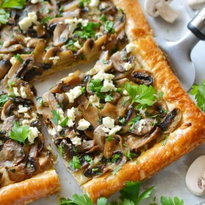 Mushroom Tart with Puff Pastry Recipe-How To Make Mushroom Tart with Puff Pastry-Delicious Mushroom Tart with Puff Pastry
